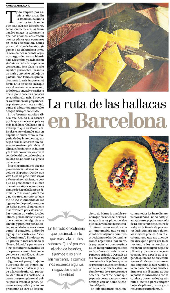 Ruta de la hallaca en Barcelona